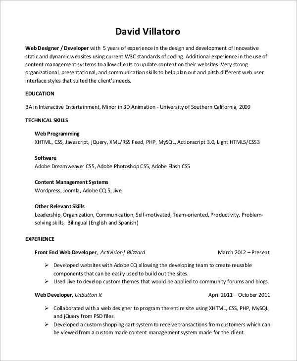free sample web developer resume templates in ms word pdf entry level database auto body Resume Entry Level Web Developer Resume