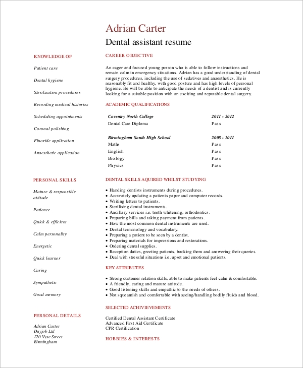 free simple resume samples in ms word pdf dental assistant objective example1 raft guide Resume Dental Assistant Resume Objective Samples
