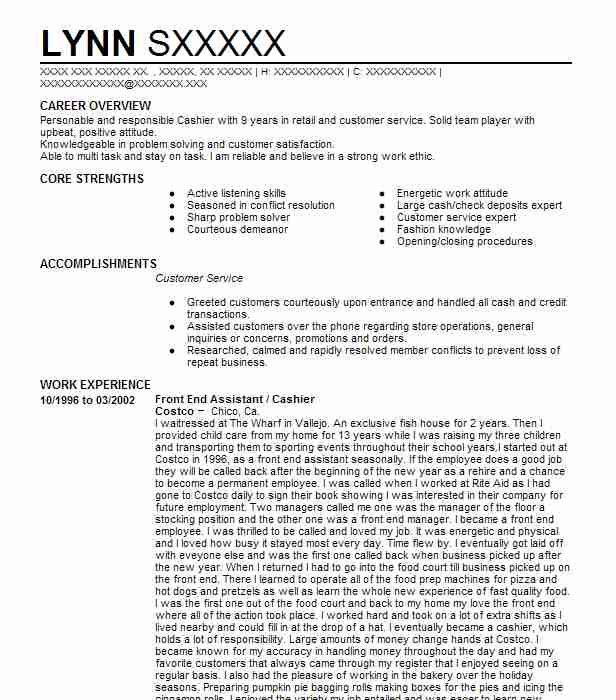 front end cashier assistant resume example costco wholesale north hollywood high school Resume Costco Front End Assistant Resume