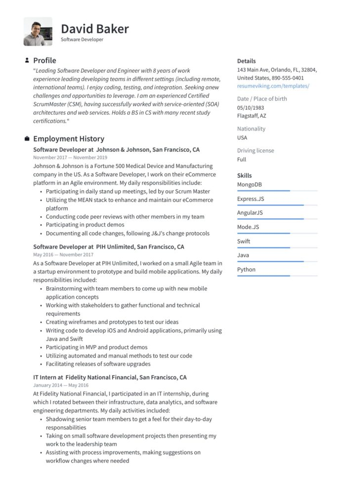 guide software developer resume examples word pdf sample for engineer with years Resume Sample Resume For Software Engineer With 1 Years Experience