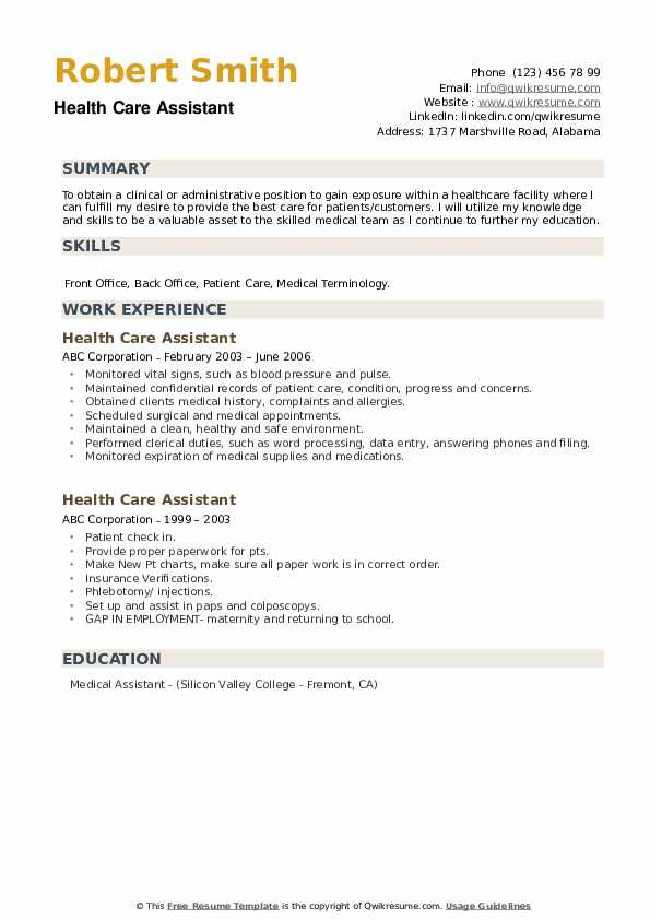 health care assistant resume samples qwikresume sample pdf probation officer examples Resume Health Care Assistant Resume Sample