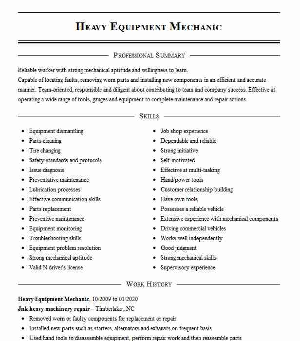 heavy equipment mechanic resume example livecareer sample assistant principal cover Resume Heavy Equipment Mechanic Resume Sample