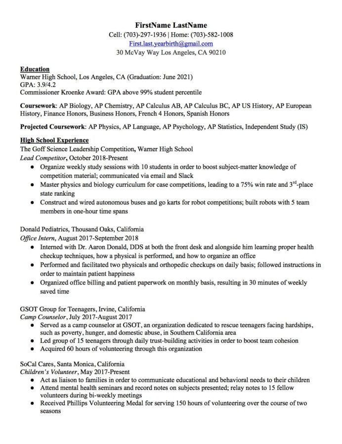 high school resume to write the best one templates included college application examples Resume College Application Resume Examples For High School Seniors