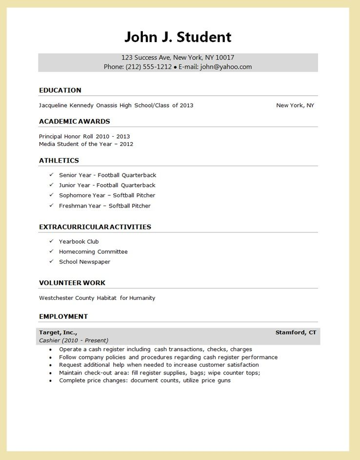 high school senior resume for college application google search template student example Resume High School Student Resume Example For College Application