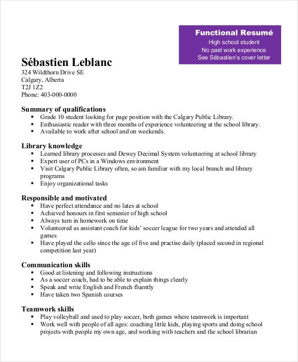 student resume templates free no work experience sample for highschool students with Resume Sample Resume For Highschool Students With Little Experience