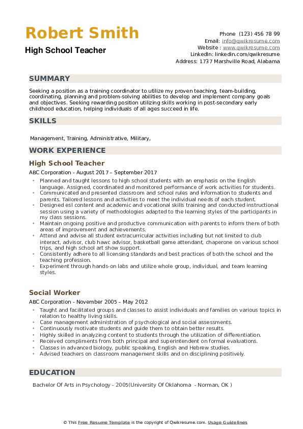 high school teacher resume samples qwikresume examples for students with experience pdf Resume Resume Examples For High School Students With Experience