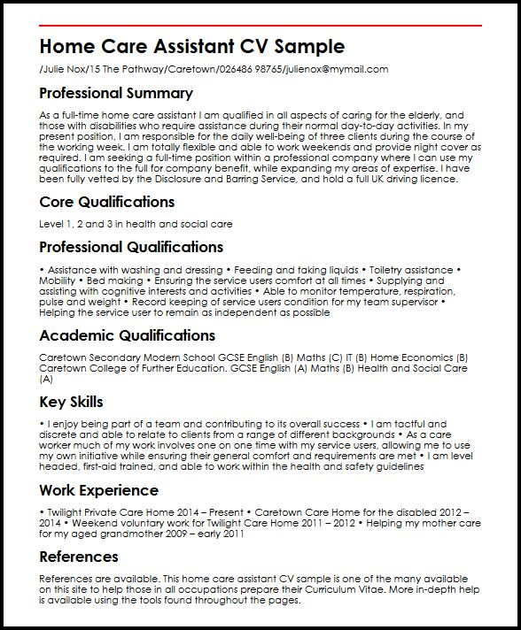 home care assistant cv example myperfectcv health resume sample social services pilot Resume Health Care Assistant Resume Sample