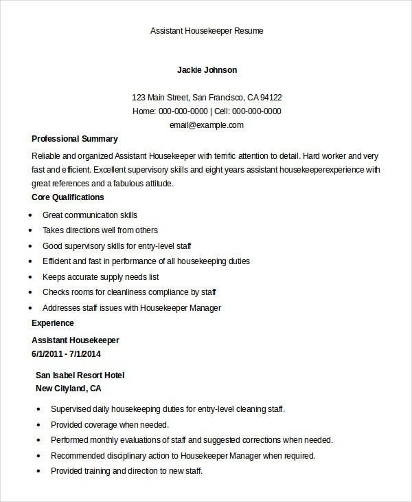 housekeeping resume example free word pdf documents premium templates duties assistant Resume Housekeeping Duties Resume