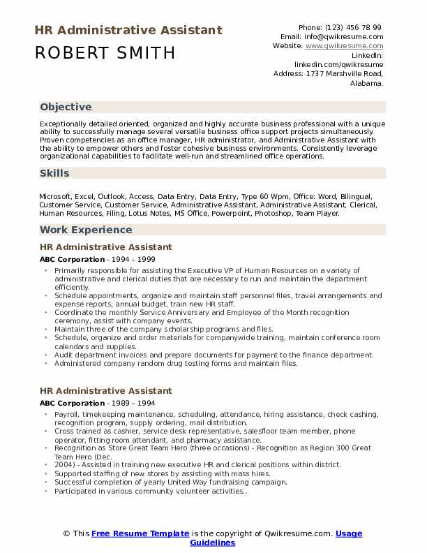 hr administrative assistant resume samples qwikresume skills and abilities for pdf jeff Resume Skills And Abilities For Administrative Assistant Resume