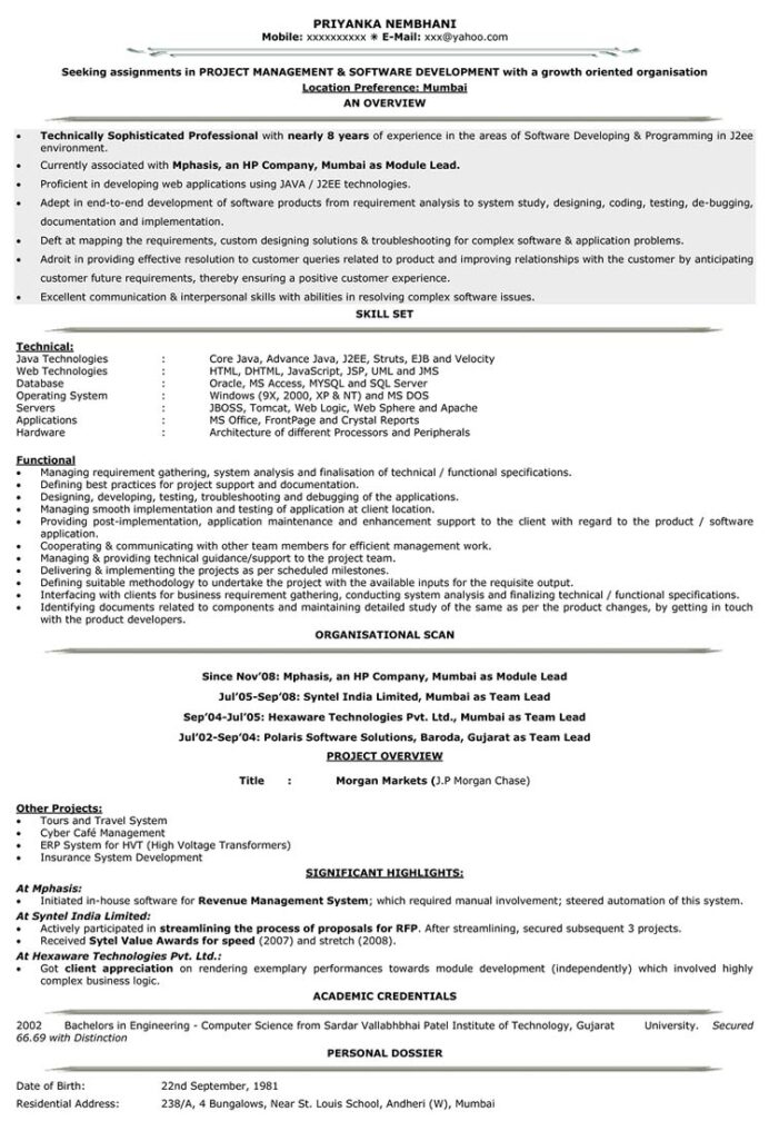 it resume format samples for cv naukri sample software engineer with years experience Resume Sample Resume For Software Engineer With 1 Years Experience