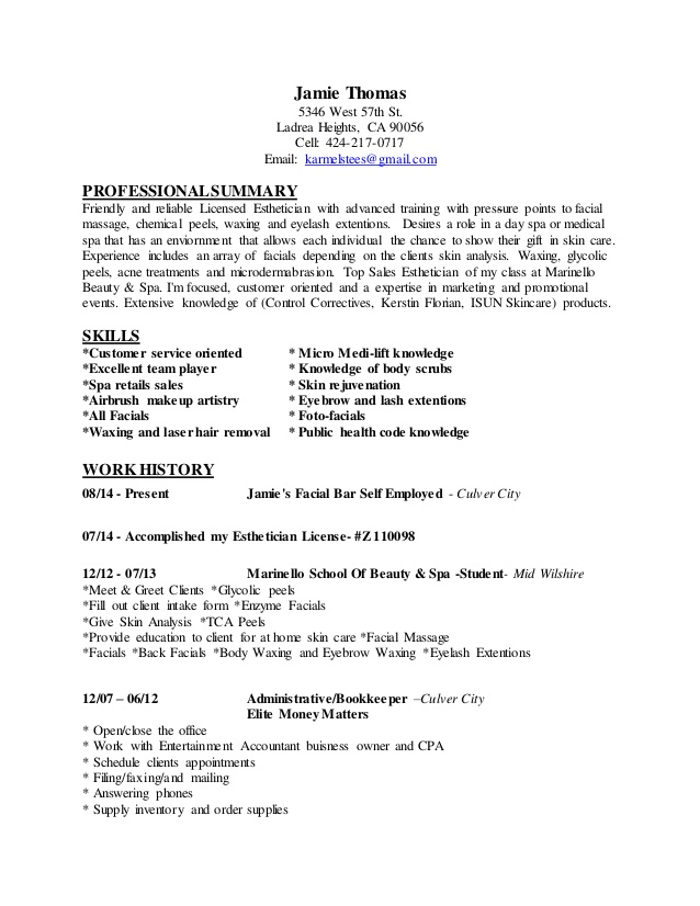 jamie resume laser hair removal business administration sample free perfect templates Resume Laser Hair Removal Resume