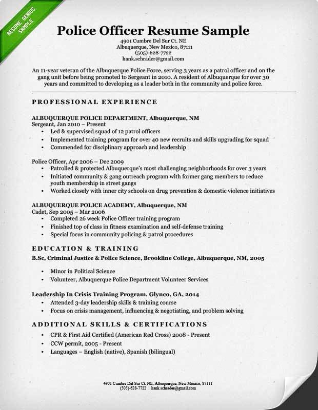 law enforcement resume writing services officer examples and templates police sample Resume Police Officer Resume Examples