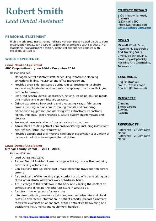 lead dental assistant resume samples qwikresume objective pdf customer service copy and Resume Dental Assistant Resume Objective Samples