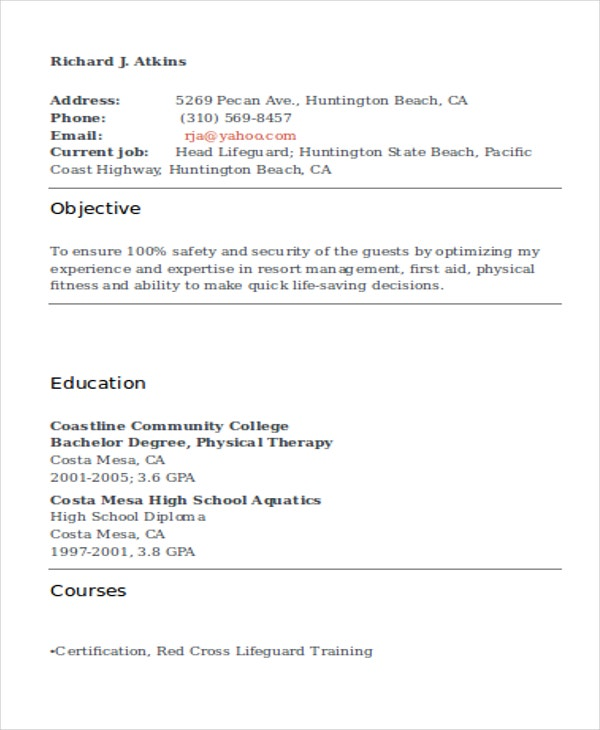 lifeguard resume free sample example format premium templates with no experience workday Resume Lifeguard Resume Sample