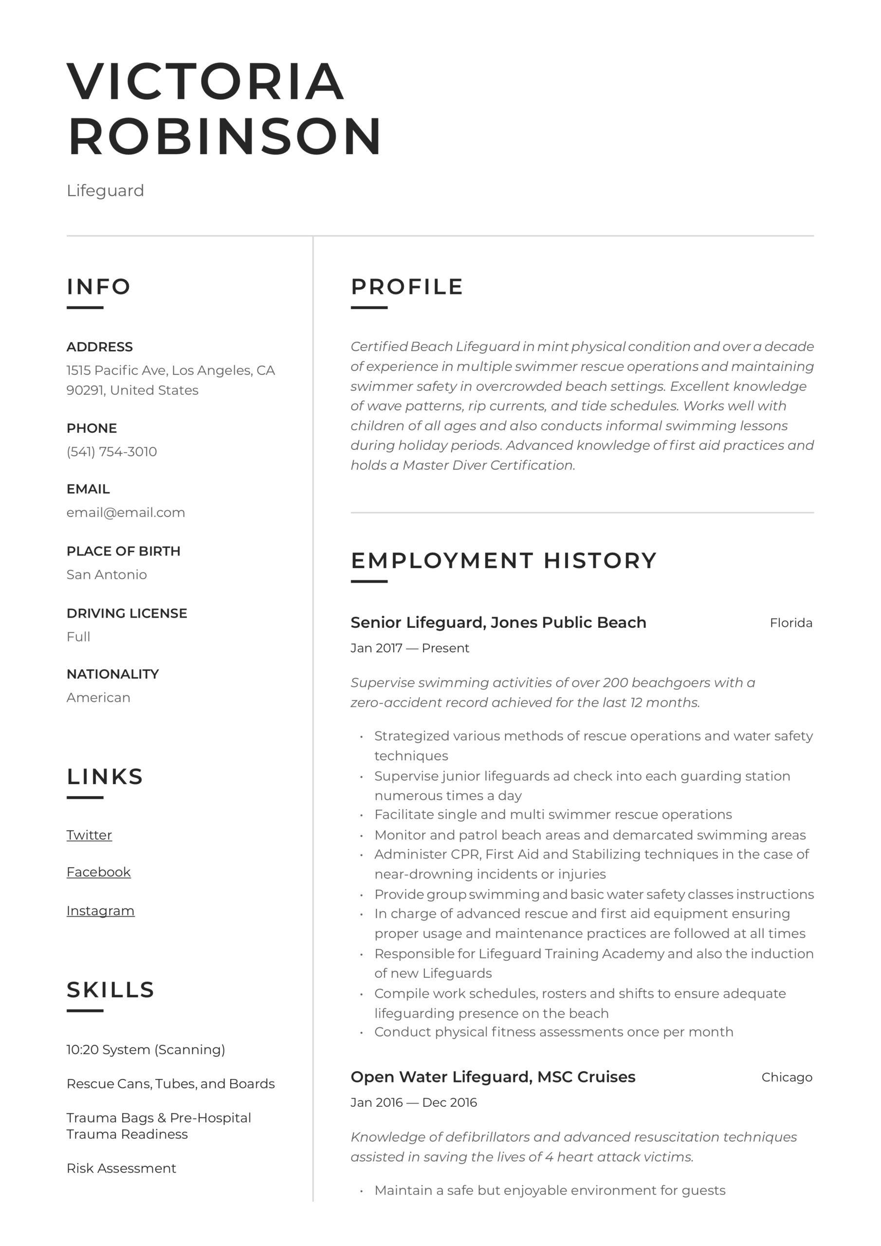 lifeguard resume writing guide templates sample cutting edge best format examples social Resume Lifeguard Resume Sample