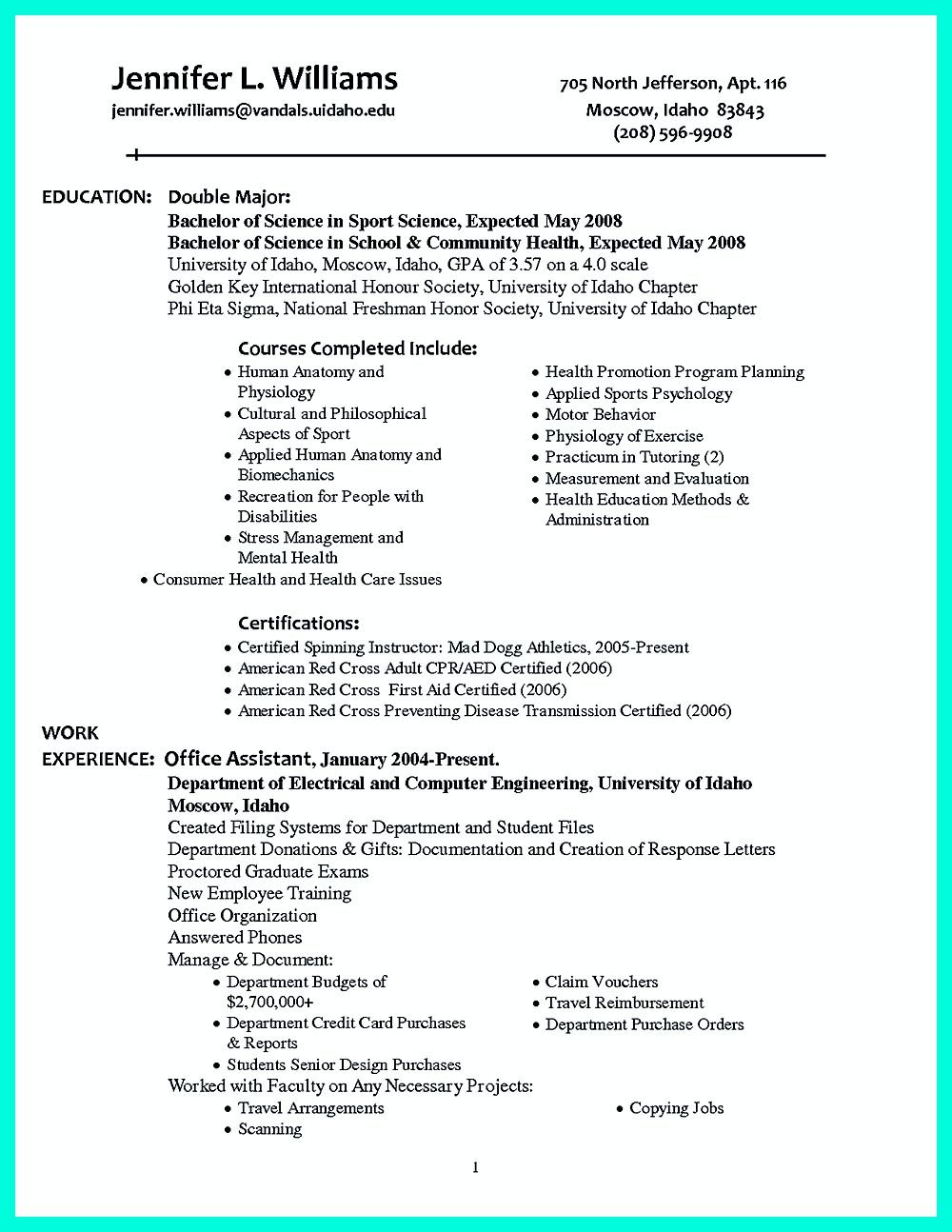 making simple college golf resume with basic but effective information highly organized Resume Highly Organized Resume