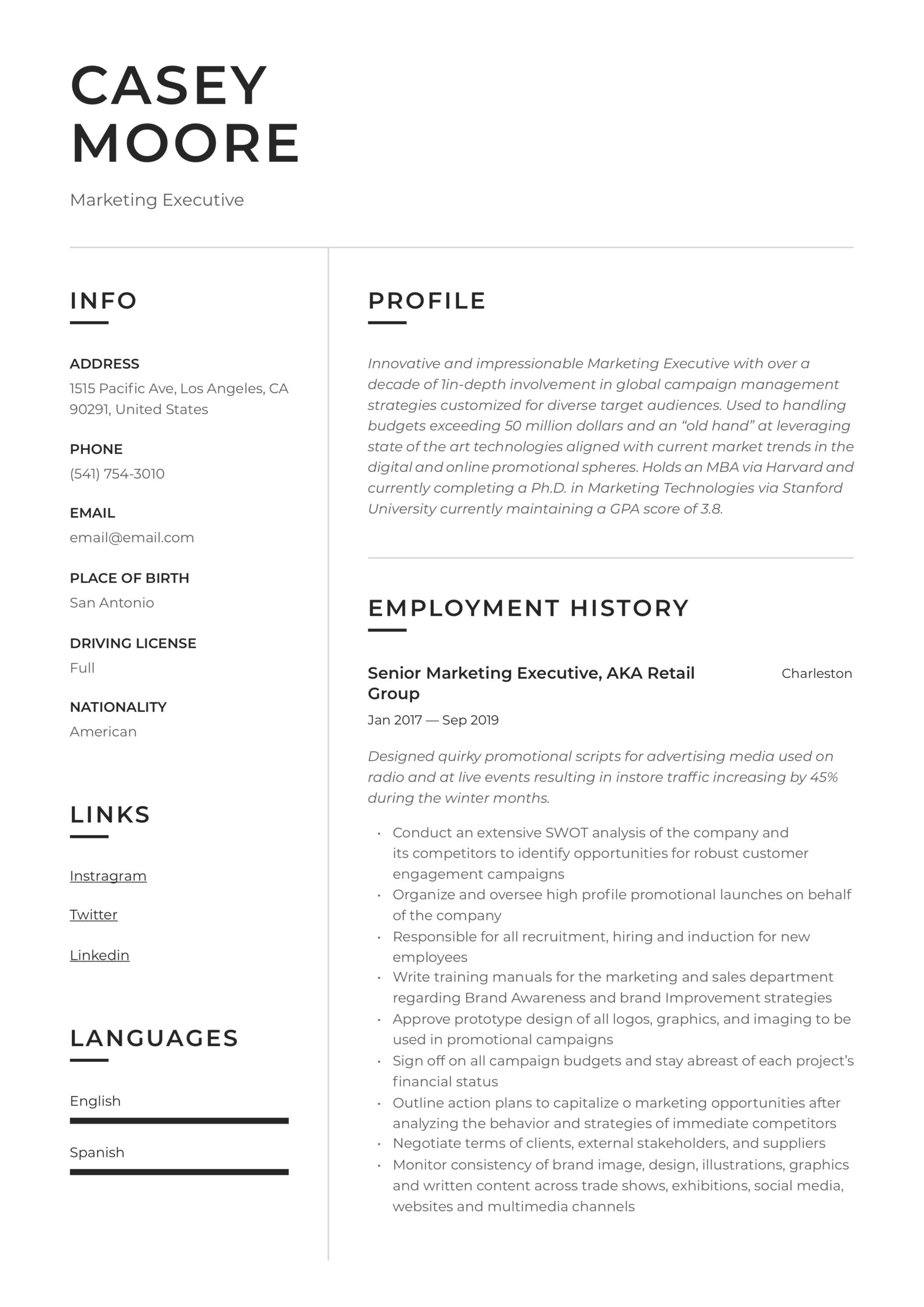 marketing executive resume writing guide examples stanford classic format sample builder Resume Marketing Executive Resume