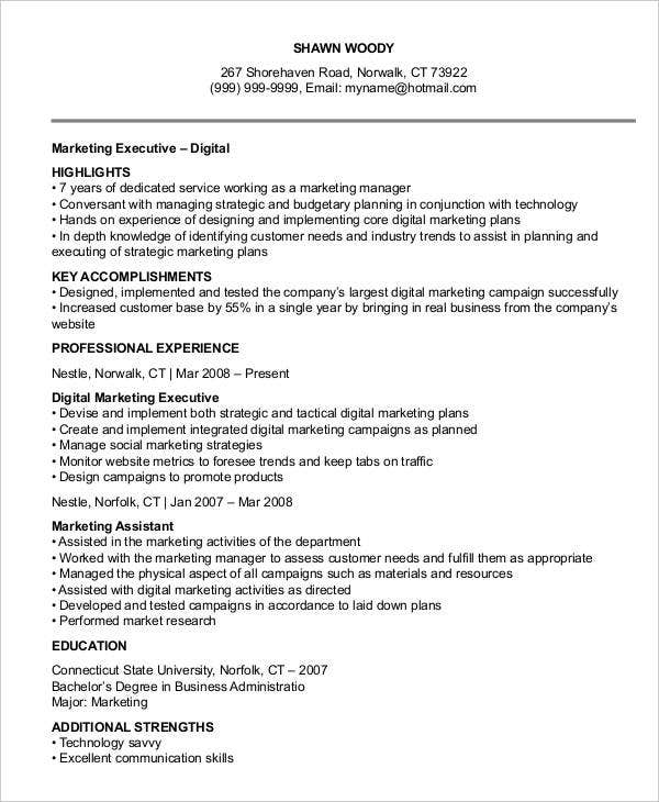marketing resume templates in pdf free premium executive digital examples of leadership Resume Marketing Executive Resume