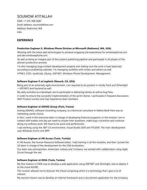 my resume soumow dollon silverlight developer objective examples entry level career Resume Silverlight Developer Resume