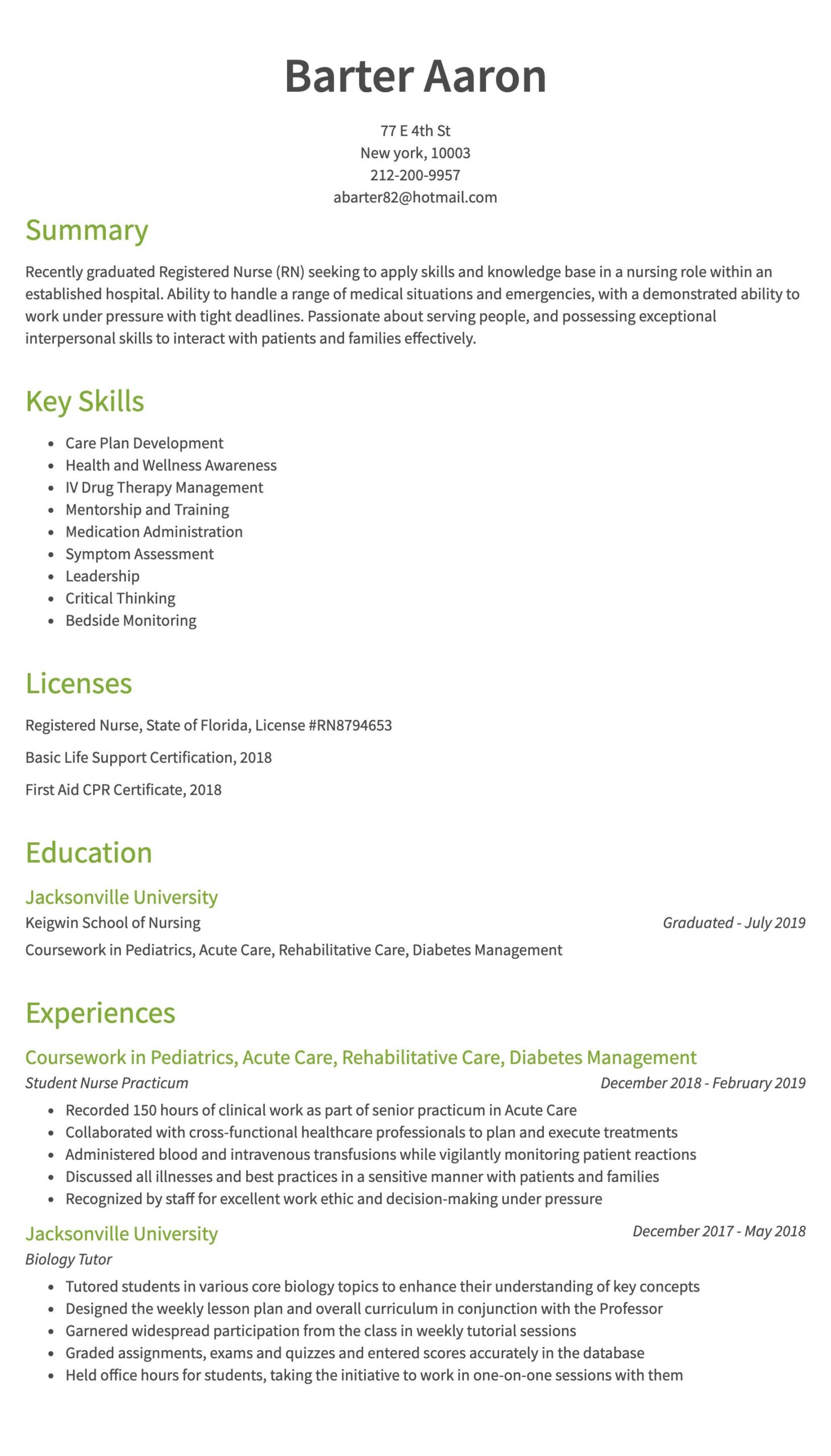 nursing resume examples samples written by rn managers entry level skills years of exp Resume Entry Level Nursing Resume Skills