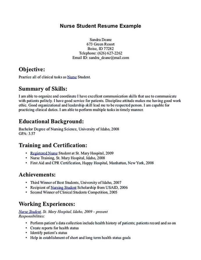nursing student resume must contains relevant skills experience and also educational back Resume Relevant Experience Resume