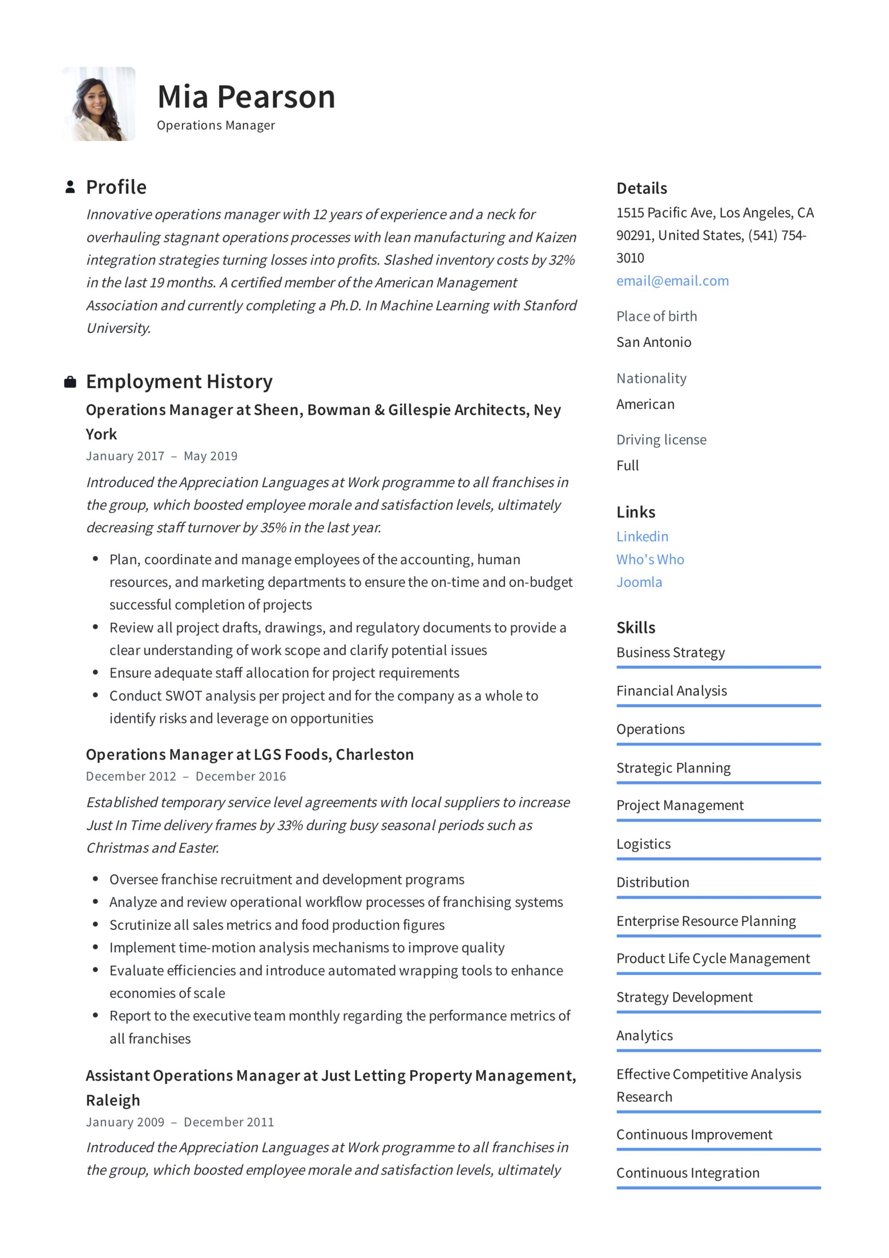operations manager resume writing guide examples pdf director of sample example best Resume Director Of Operations Resume Sample