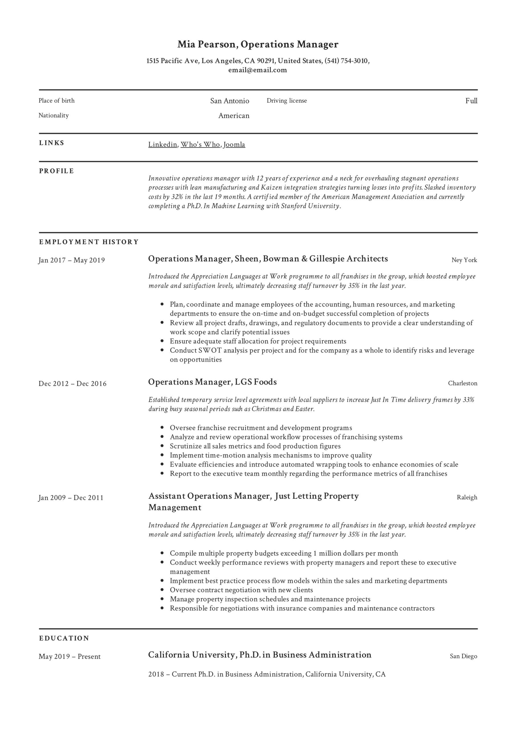 operations manager resume writing guide examples pdf director of sample example Resume Director Of Operations Resume Sample