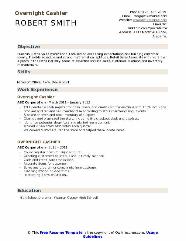 overnight cashier resume samples qwikresume checkout operator duties pdf brand manager Resume Checkout Operator Duties Resume