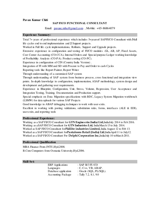 pavan sap fico resume sample for consultant years experience scrum master examples mdc Resume Sample Resume For Sap Fico Consultant 4 Years Experience