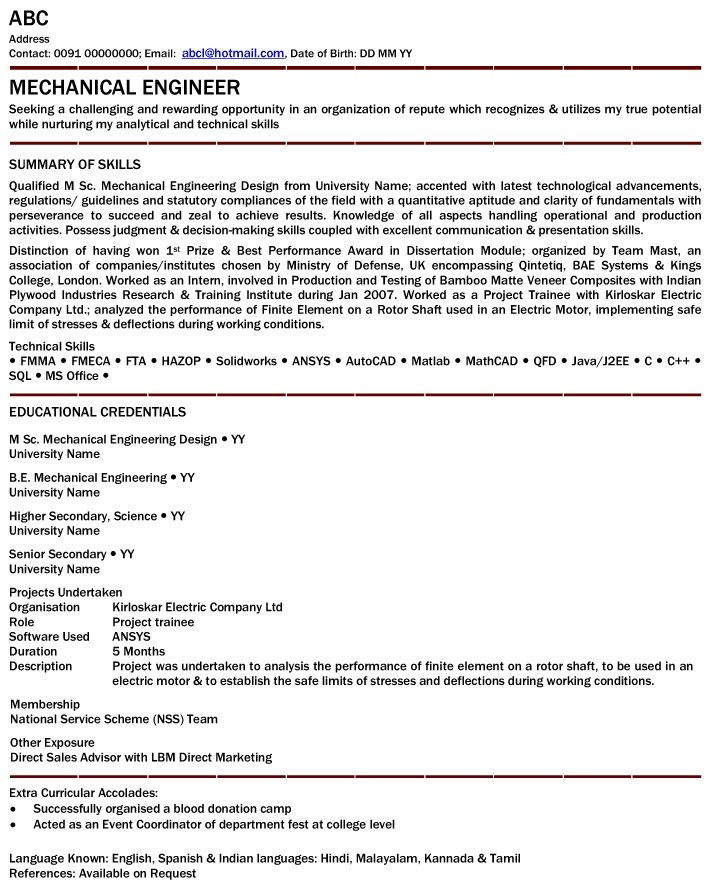 pin on resumes sample resume format for mechanical engineering freshers attention Resume Sample Resume Format For Mechanical Engineering Freshers