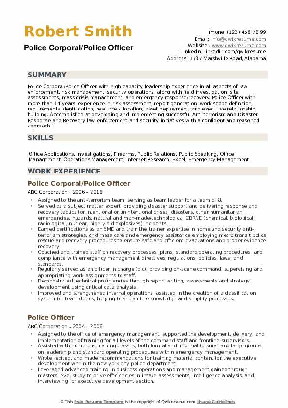 police officer resume samples qwikresume examples pdf indeed edit nanny template field Resume Police Officer Resume Examples