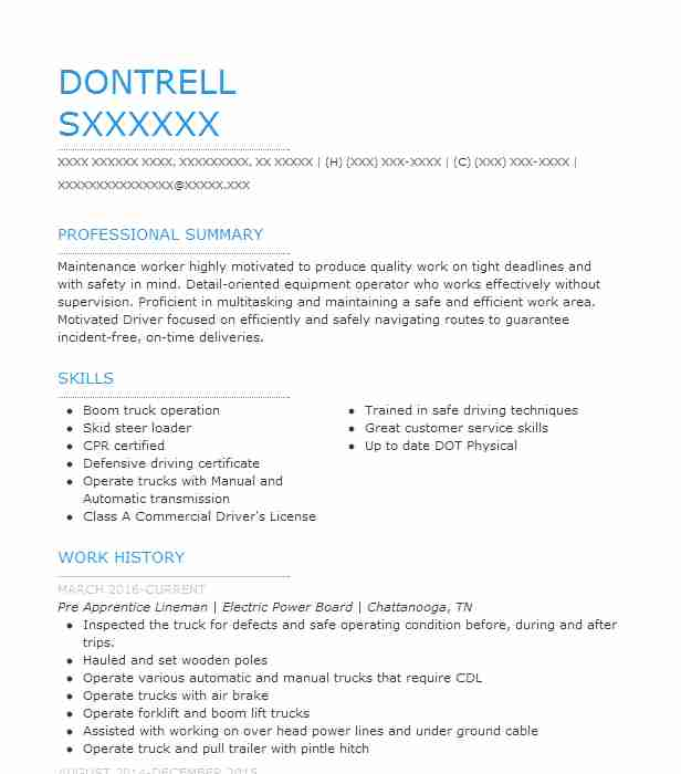 pre apprentice lineman resume example gas and electric transmission layout hana security Resume Transmission Lineman Resume