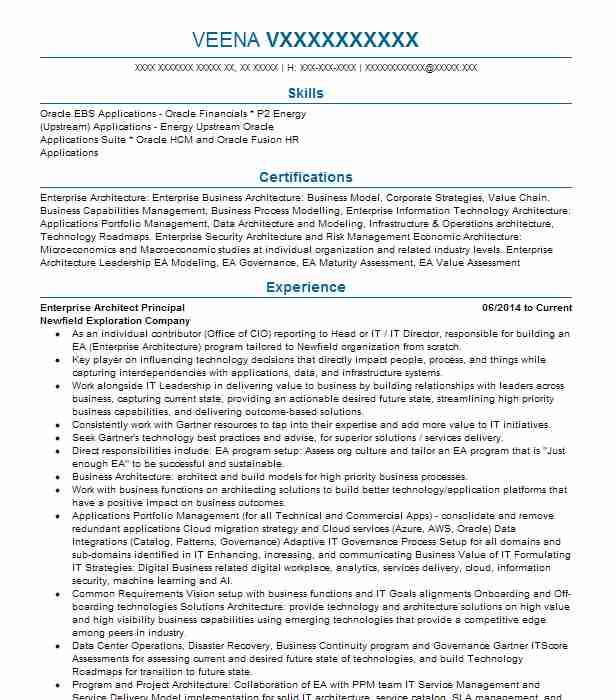 principal enterprise architect resume example oracle corporation irving assistant project Resume Principal Architect Resume