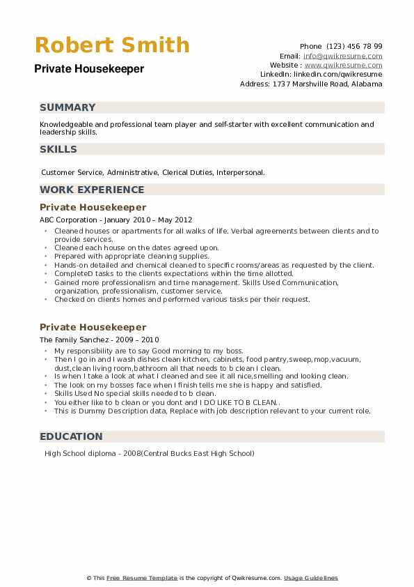 private housekeeper resume samples qwikresume housekeeping duties pdf administrative cnc Resume Housekeeping Duties Resume