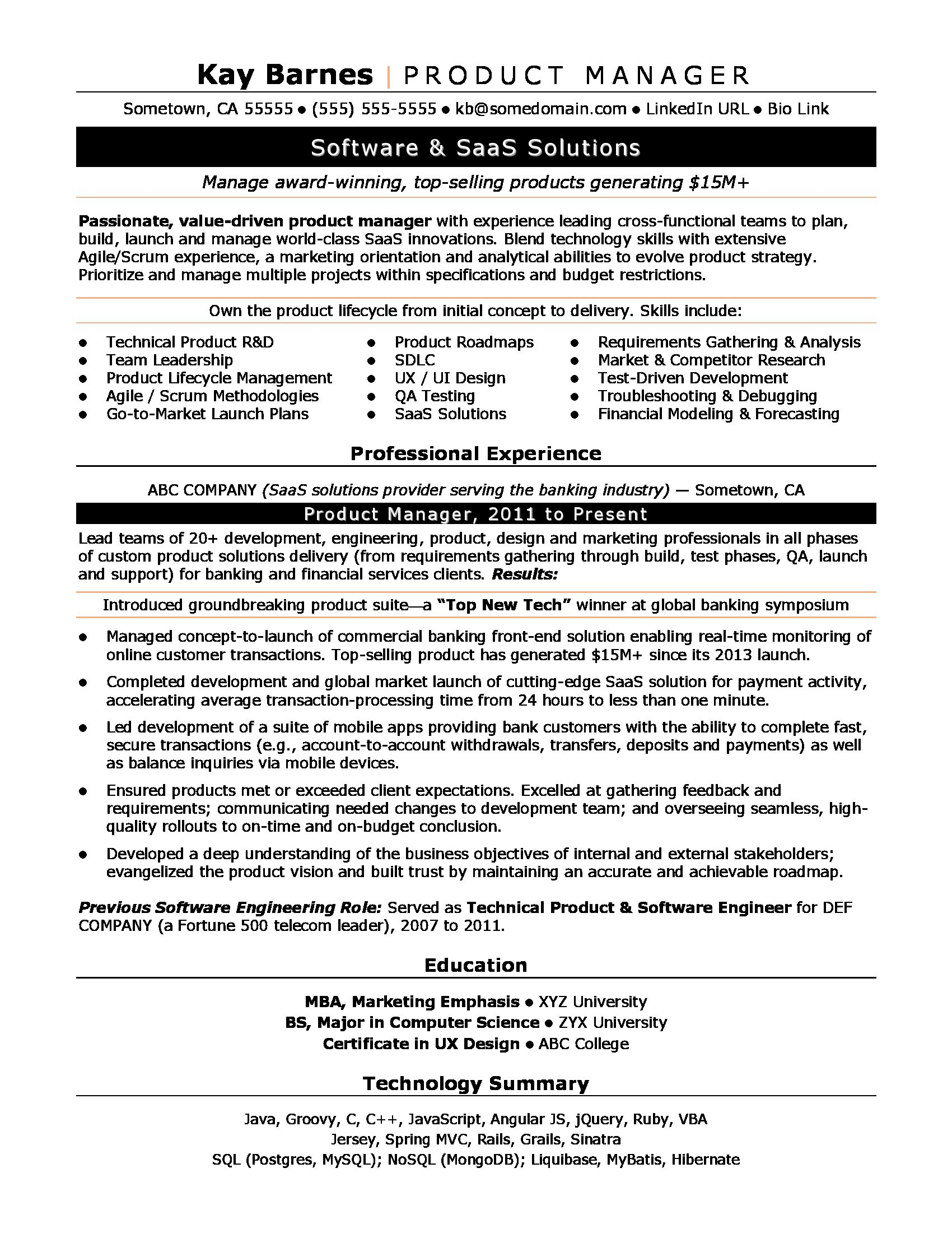 product manager resume sample monster development lead productmanager department front Resume Development Lead Resume