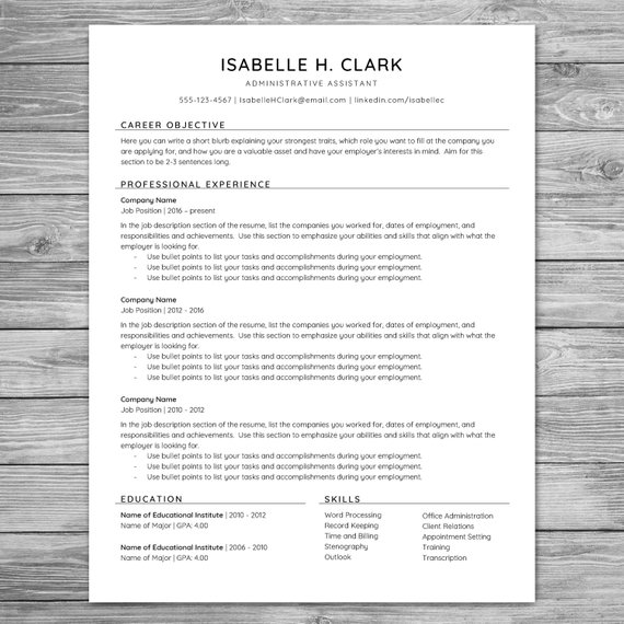 professional minimalist resume template cv printable instant cover letter reference sheet Resume Resume Template With Reference Section