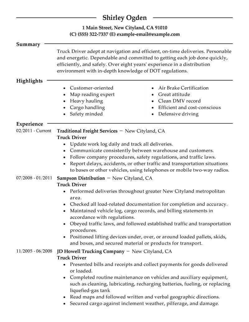 professional truck driver resume examples driving livecareer free sample transportation Resume Free Sample Truck Driver Resume