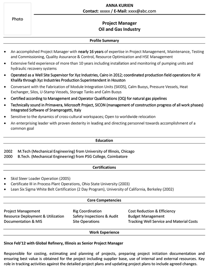 project manager cv format resume sample and template deployment oil gas openstack Resume Deployment Manager Resume