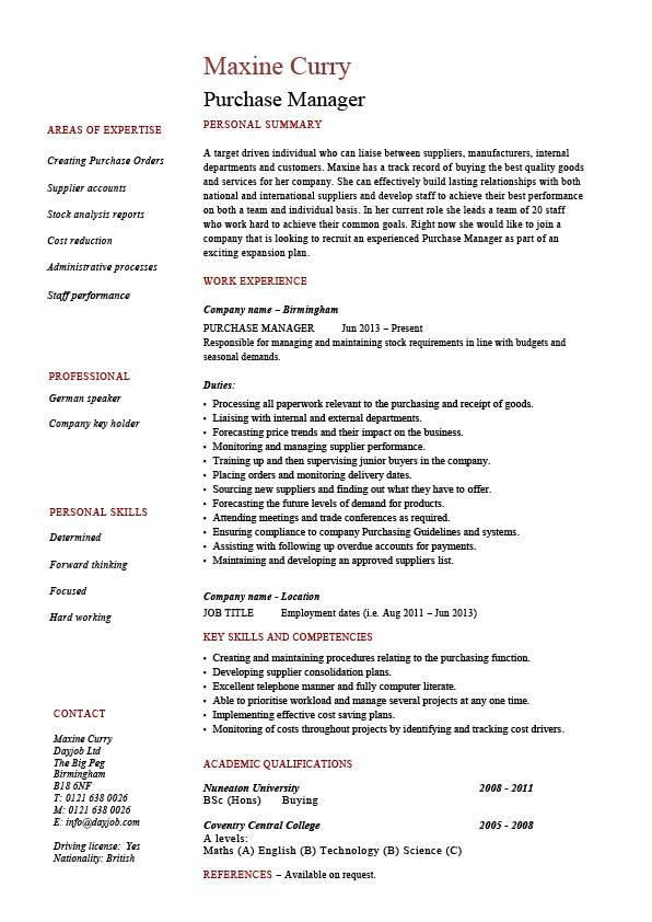 purchase manager resume job description samples examples templates management purchasing Resume Purchasing Manager Resume