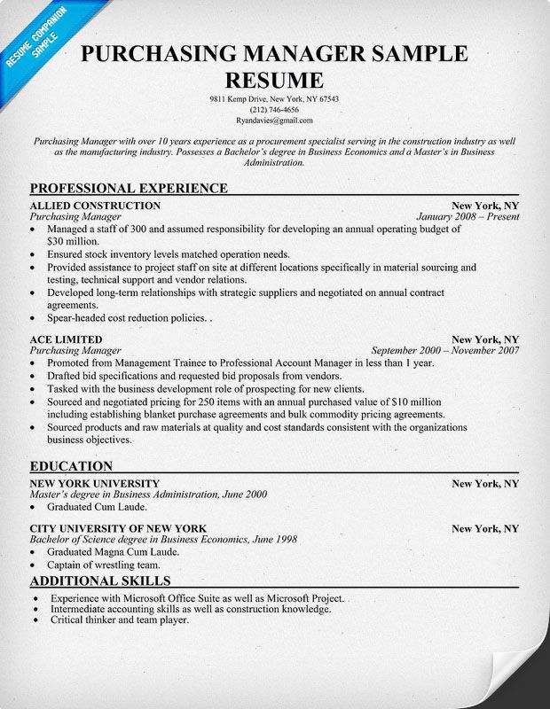 purchasing manager resume sample companion medical template examples operations Resume Purchasing Manager Resume