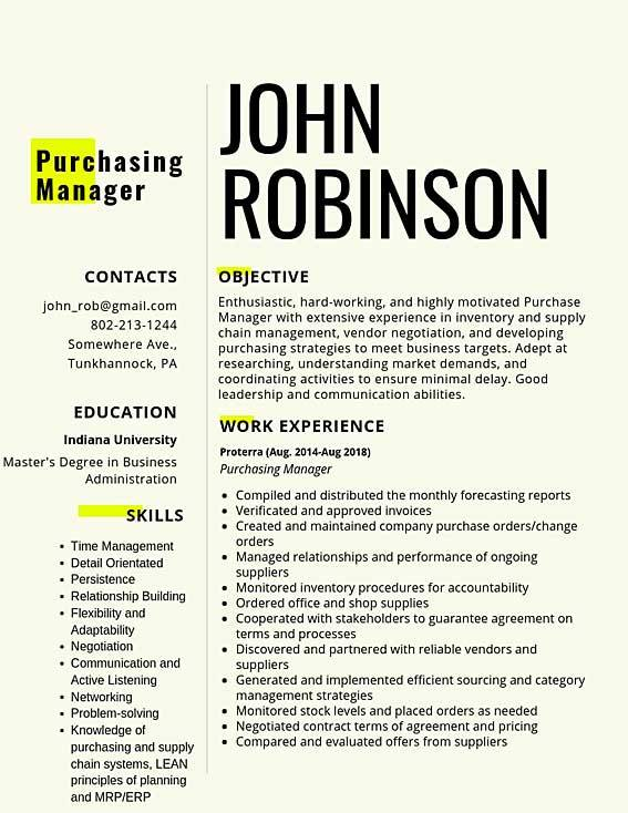 purchasing manager samples templates pdf word resumes bot resume sample entry level Resume Purchasing Manager Resume