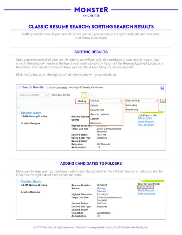 quick guide classic resume search sorting results monster 700x906 lines free blank Resume Monster Classic Resume Search
