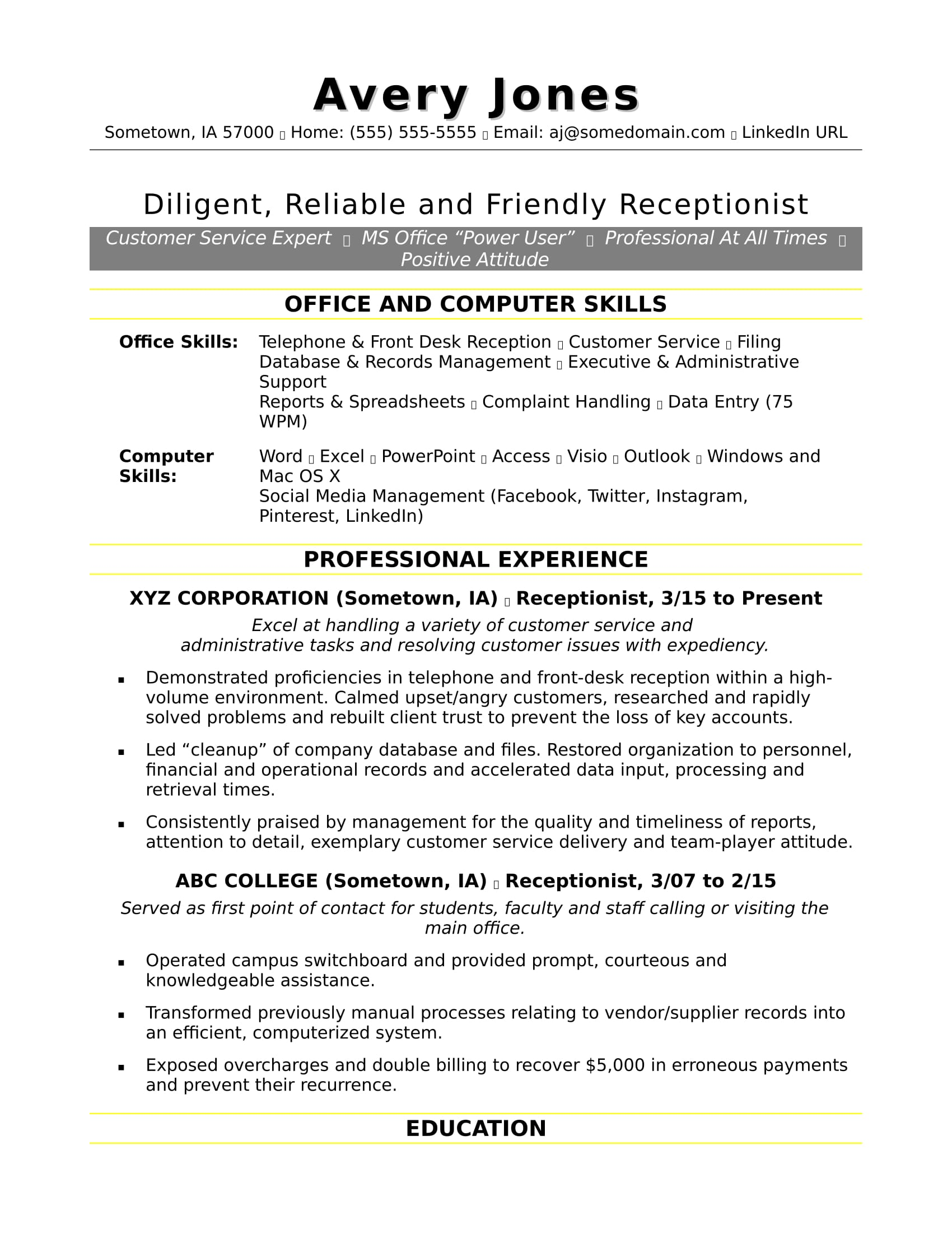 receptionist resume sample monster format for experienced customer service executive Resume Resume Format For Experienced Customer Service Executive