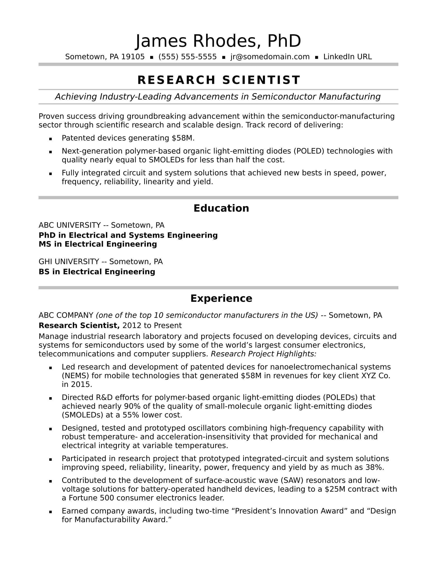 research scientist resume sample monster with experience midlevel format for hospitality Resume Resume With Research Experience