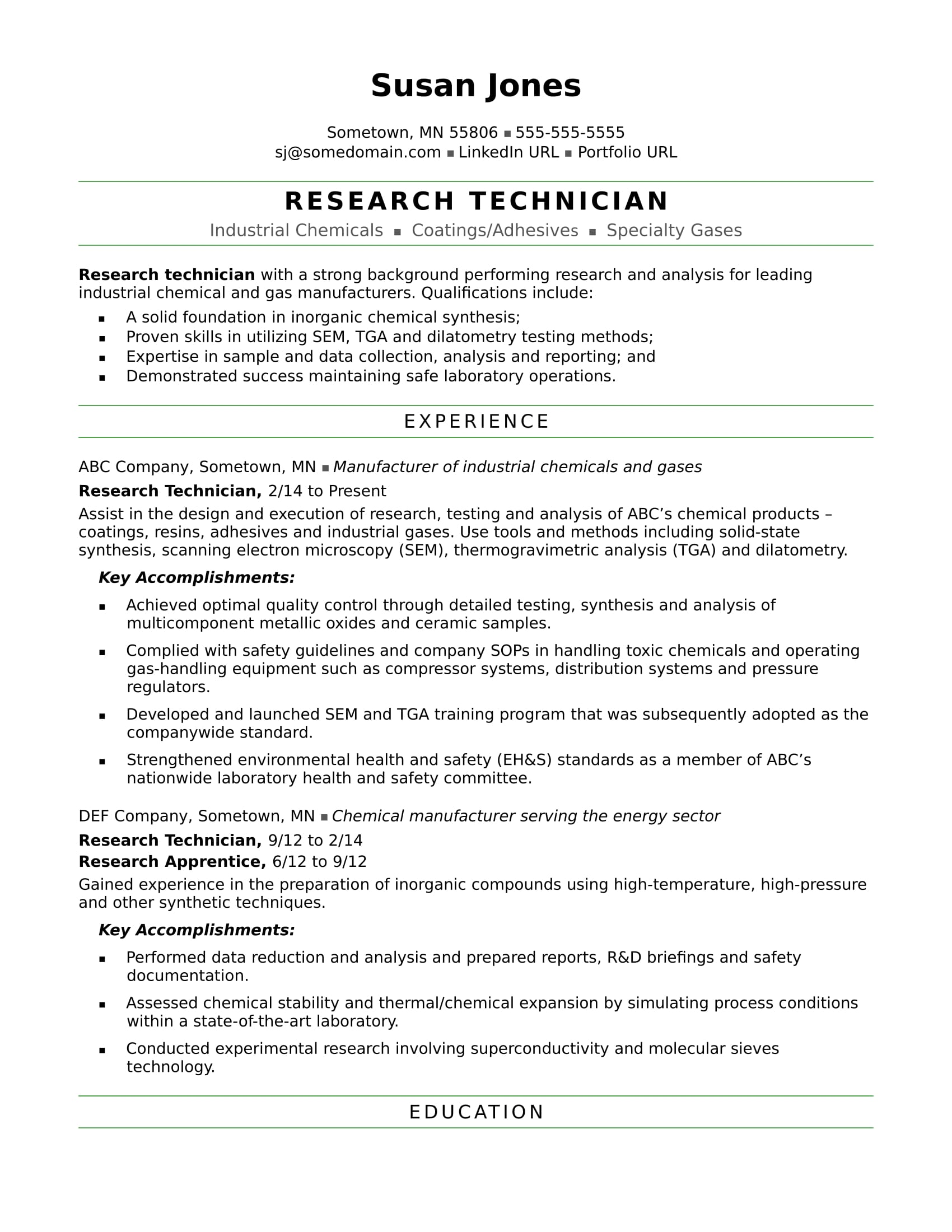 research technician resume sample monster with experience midlevel best engineering Resume Resume With Research Experience