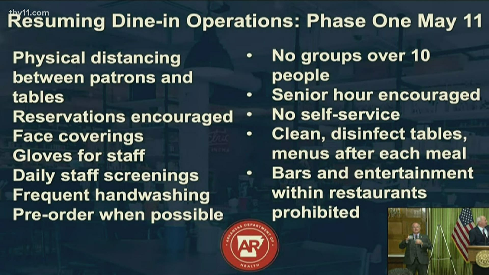 restaurants allowed to resume limited dine in on may 11th thv11 little service amanda Resume Little Rock Resume Service