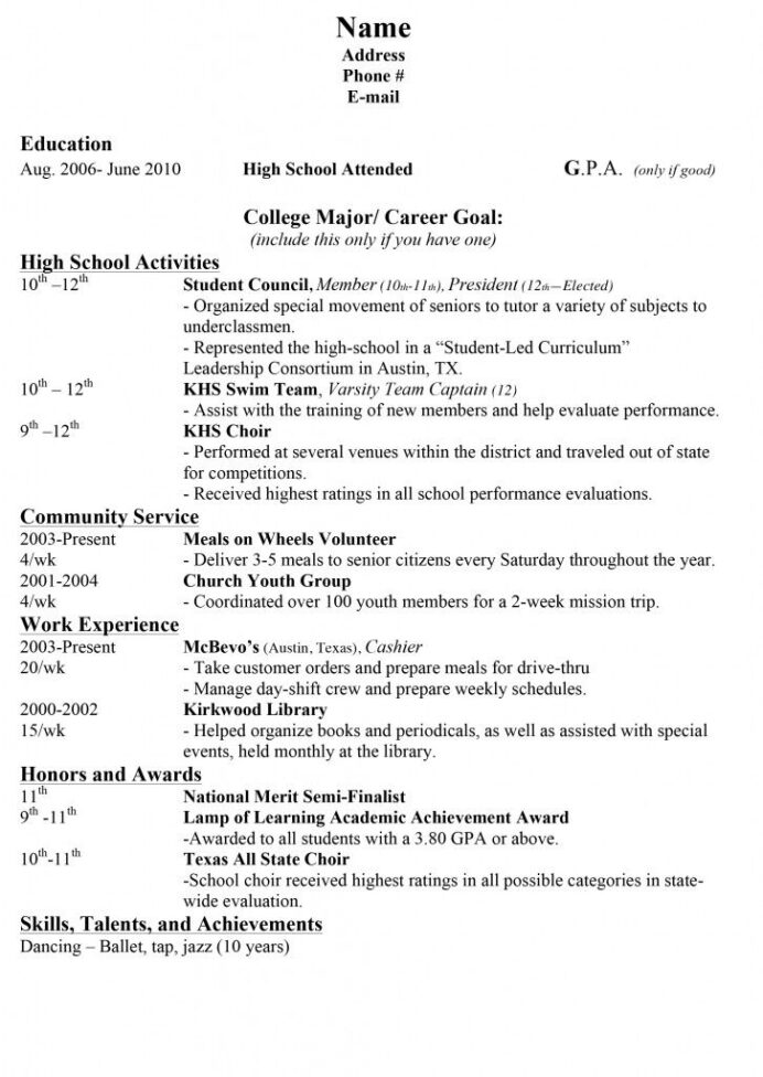 resume examples for high school students with no experience sample resumes college Resume High School Student Resume Example For College Application