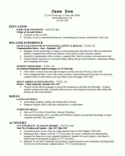 resume examples for recent college graduate student template cnc machinist pharmacist Resume College Graduate Resume Examples