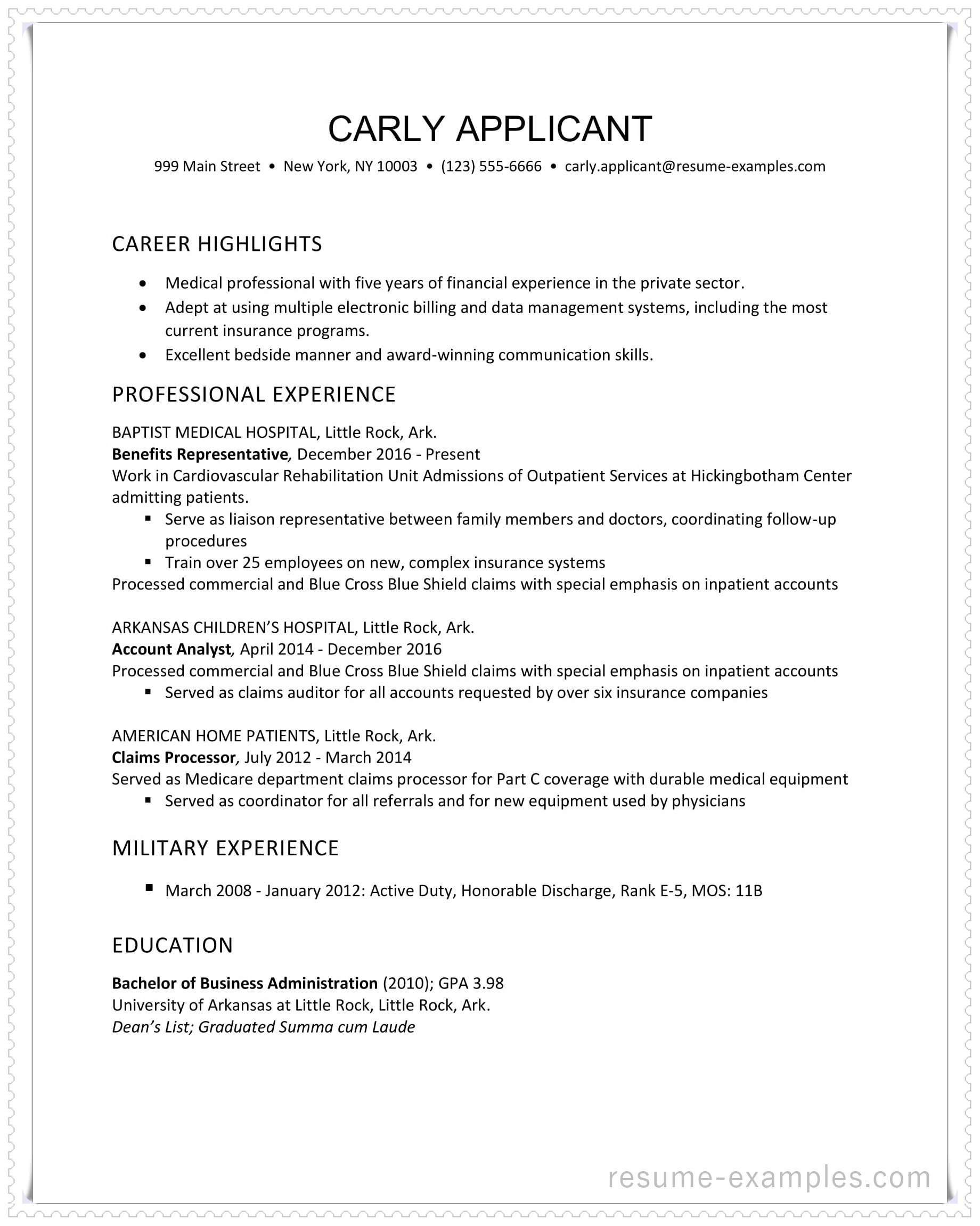 resume examples little service health insurance industry example in ms word format entry Resume Little Rock Resume Service