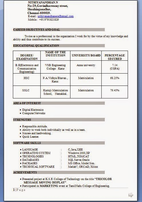 resume format for freshers engineers electronics writing lab samples and communication Resume Resume Samples For Electronics And Communication Engineers